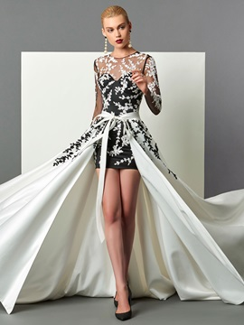 Sheath Scoop Long Sleeves Appliques Sashes Evening Dress