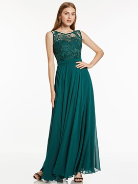 Elegant Floor-Length Scoop Neckline Lace Chiffon Evening Dress