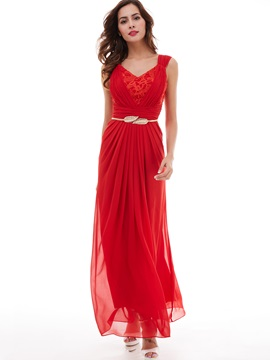 Popular V-Neck Lace Pleated Chiffon A-Line Evening Dress