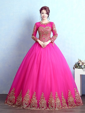 Eye-Catching Jewel Neck Ball Gown Long Sleeves Appliques Quinceanera Dress