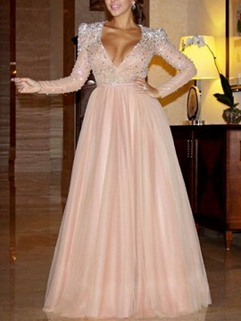 A-Line V-Neck Beading Sashes Evening Dress