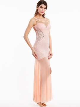 Charming Scoop Neck Sheath Split-Front Long Evening Dress