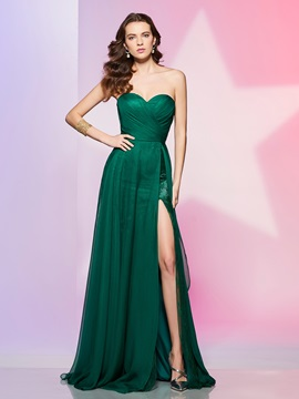 Simple A-Line Sweetheart Lace Ruched Split-Front Prom Dress