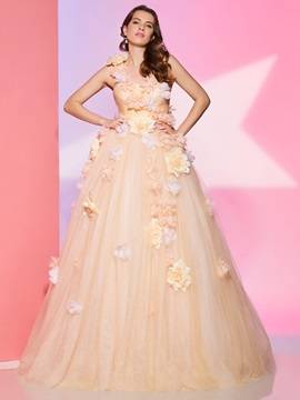 Charming A-Line One-Shoulder Flowers Pleats Floor-Length Prom Dress