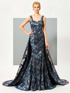Fancy Straps A-Line Printed Watteau Train Evening Dress