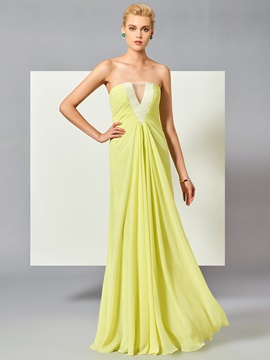 Concise A-Line Strapless Ruched Floor-Length Prom Dress