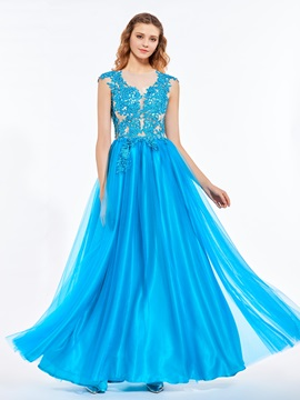 Stylish Scoop A-Line Appliques Beaded Floor-Length Prom Dress