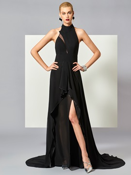 Halter A-Line Backless Court Train Evening Dress