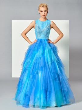 Charming Jewel Ball Gown Appliques Beading Draped Tiered Floor-Length Quinceanera Dress