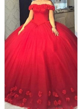 Off-the-Shoulder Flowers Quinceanera Dress
