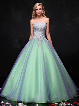 Strapless Appliques Pearls Quinceanera Dress