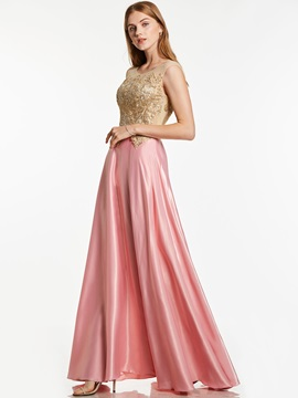 Bateau Neck Zipper-Up Appliques A Line Evening Dress
