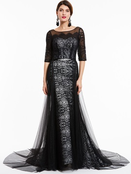 Vintage Bateau Neck Half Sleeves Lace Evening Dress