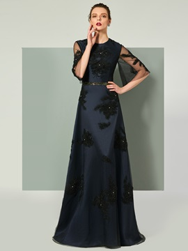 Elegant Beading Half Sleeves Black Evening Dress