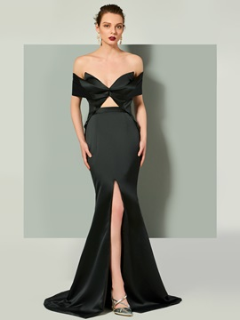 Unique Trumpet V-Neck Short Sleeves Split-Front Evening Dress