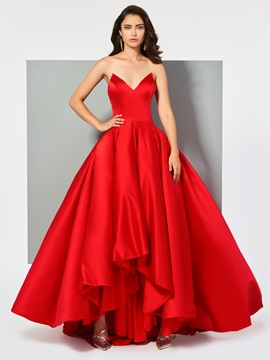 Strapless Ball Gown Red Evening Dress