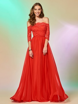A-Line Lace Off-the-Shoulder Floor-Length Prom Dress