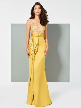 Sheath Appliques V-Neck Ruffles Floor-Length Evening Dress