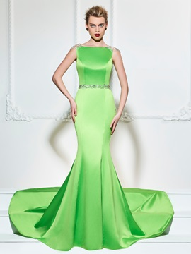 Bateau Beading Button Evening Dress