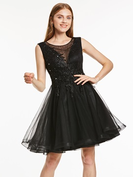 Elegant A-Line Appliques Beading Sashes Mini Homecoming Dress