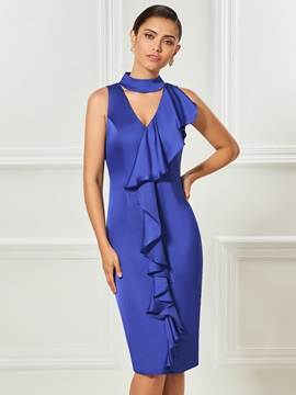 Sheath Ruffles High Neck Knee-Length Cocktail Dress