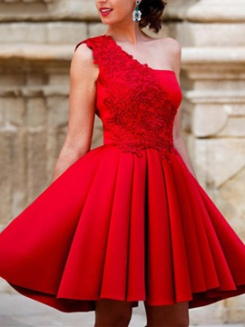 A-Line Appliques Draped Homecoming Dress