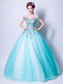 Gorgeous Embroidery Ball Gown Off-the-Shoulder Floor-Length Quinceanera Dress