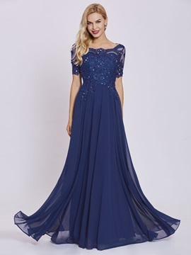 Scoop Beaded Appliques A-Line Evening Dress
