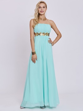 Simple Strapless Sequins A Line Prom Dress
