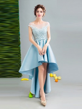 Fancy A-Line Cap Sleeves Appliques Bowknot Sashes Bateau Asymmetry Homecoming Dress