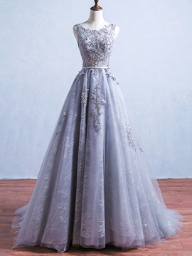 Elegant A-Line Appliques Lace Sashes Scoop Court Train Evening Dress
