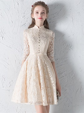 Simple A-Line High Neck Bowknot Button Lace Sashes Half Sleeves Mini Homecoming Dress