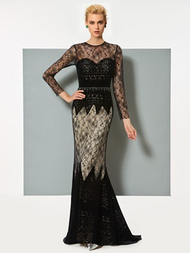 Jewel Mermaid Lace Long Sleeves Evening Dress