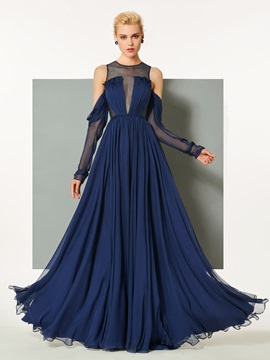 A-Line Button Scoop Ruched Evening Dress