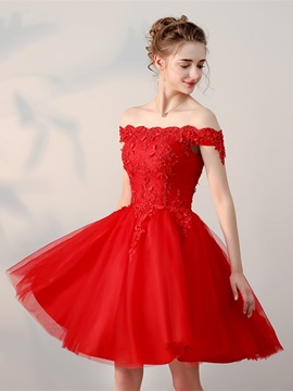 A-Line Off-the-Shoulder Appliques Pearls Homecoming Dress