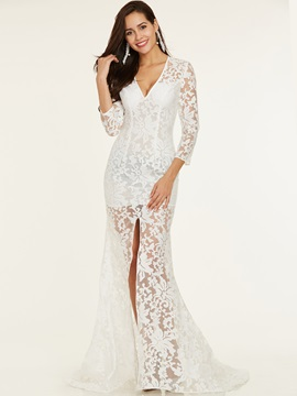V Neck Split-Front Lace Evening Dress