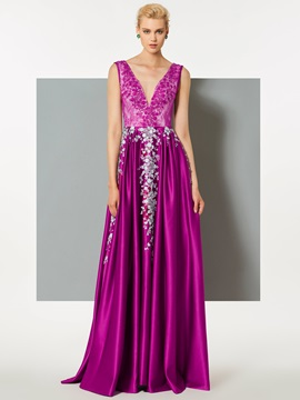 A-Line V-Neck Appliques Lace Evening Dress