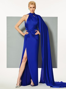 Modern A-Line Split-Front High Neck Court Train Evening Dress