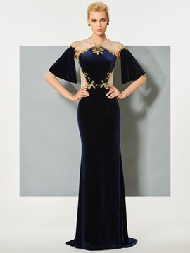 Stylish Jewel Button Velvet Beading Trumpet Sweep Train Evening Dress