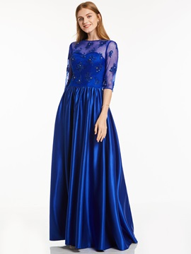 Elegant Scoop Half Sleeves Neck Beaded A Line Evening Dress