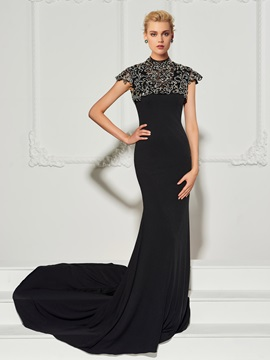 Mermaid Beading Button Scoop Evening Dress