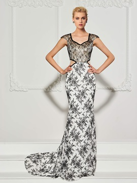 Chic Mermaid V-Neck Cap Sleeves Lace Sweep Train Evening Dress
