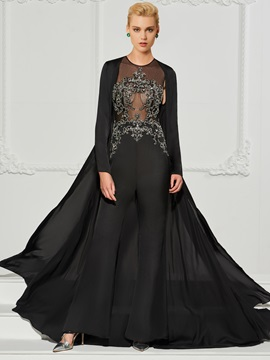 Unique Beading Black Evening Jumpsuits with Jacket