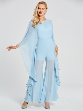Scoop Long Sleeves Chiffon Evening Jumpsuits