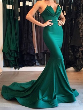 Mermaid Sweetheart Draped Pick-Ups Evening Dress