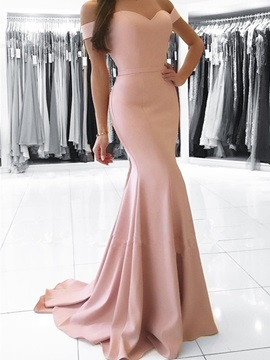Off-the-Shoulder Mermaid Court Train Evening Dress
