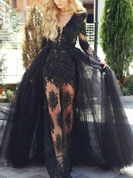 Lace A-Line Appliques Long Sleeves Evening Dress