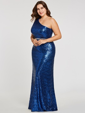 One Shoulder Sheath Sequins A Line Evening Dress
