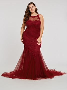 Lace Mermaid Spaghetti Straps Backless Evening Dress