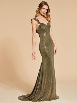 Mermaid Straps Ruffles Sequins Brush Train Evening Dress